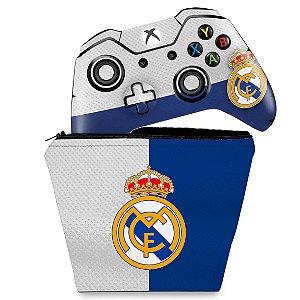 KIT Capa Case e Skin Xbox One Fat Controle - Real Madrid