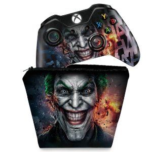 KIT Capa Case e Skin Xbox One Fat Controle - Coringa - Joker #A