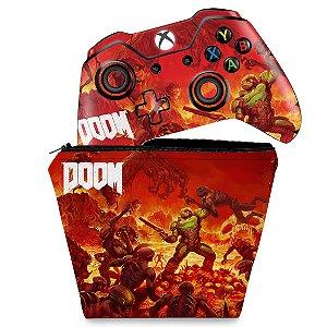 KIT Capa Case e Skin Xbox One Fat Controle - Doom