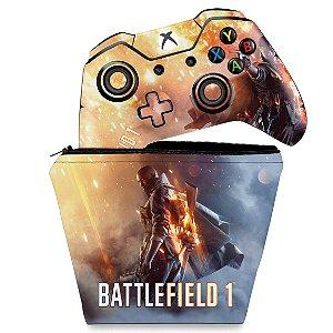 KIT Capa Case e Skin Xbox One Fat Controle - Battlefield 1