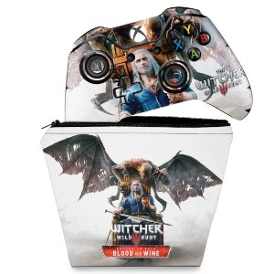 KIT Capa Case e Skin Xbox One Fat Controle - The Witcher 3 Blood And Wine