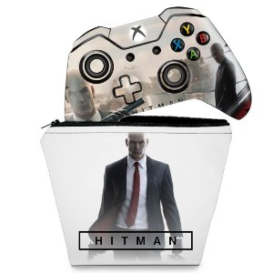 KIT Capa Case e Skin Xbox One Fat Controle - Hitman 2016