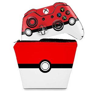 KIT Capa Case e Skin Xbox One Fat Controle - Pokemon Pokebola