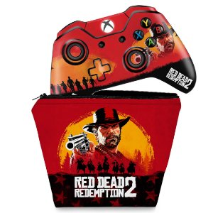 KIT Capa Case e Skin Xbox One Fat Controle - Red Dead Redemption 2