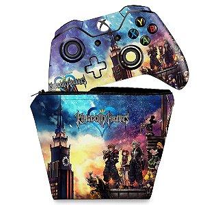 KIT Capa Case e Skin Xbox One Fat Controle - Kingdom Hearts