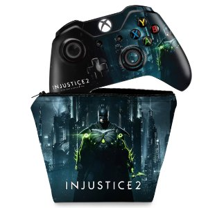 KIT Capa Case e Skin Xbox One Fat Controle - Injustice 2