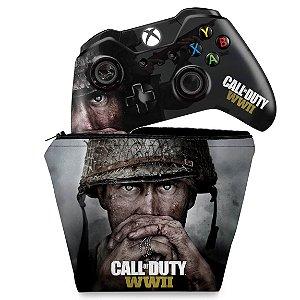 KIT Capa Case e Skin Xbox One Fat Controle - Call of Duty WW2
