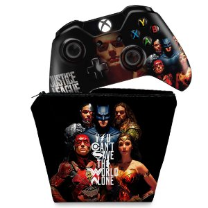 KIT Capa Case e Skin Xbox One Fat Controle - Liga da Justiça
