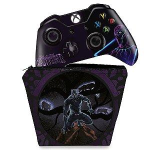 KIT Capa Case e Skin Xbox One Fat Controle - Pantera Negra