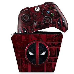 KIT Capa Case e Skin Xbox One Fat Controle - Deadpool Comics