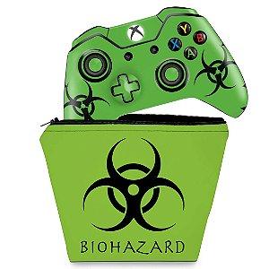 KIT Capa Case e Skin Xbox One Fat Controle - Biohazard Radioativo