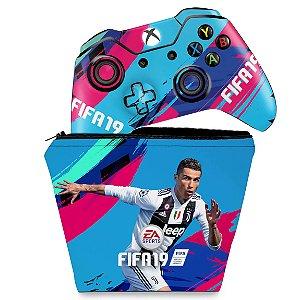KIT Capa Case e Skin Xbox One Fat Controle - FIFA 19