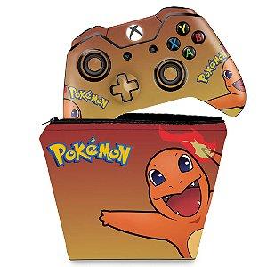 KIT Capa Case e Skin Xbox One Fat Controle - Pokemon Charmander