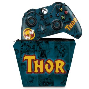 KIT Capa Case e Skin Xbox One Fat Controle - Thor Comics