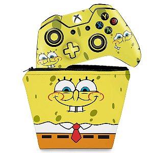 KIT Capa Case e Skin Xbox One Fat Controle - Bob Esponja