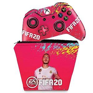 KIT Capa Case e Skin Xbox One Fat Controle - FIFA 20