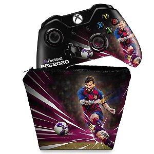KIT Capa Case e Skin Xbox One Fat Controle - PES 2020
