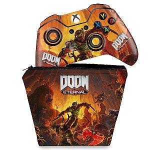 KIT Capa Case e Skin Xbox One Fat Controle - Doom Eternal