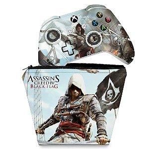 KIT Capa Case e Skin Xbox One Slim X Controle - Assassins Creed Black Flag