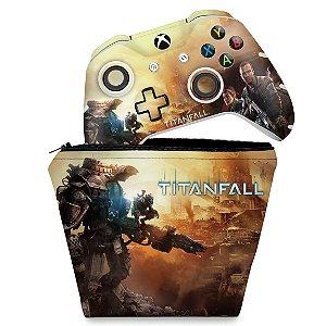 KIT Capa Case e Skin Xbox One Slim X Controle - Titanfall