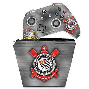 KIT Capa Case e Skin Xbox One Slim X Controle - Corinthians