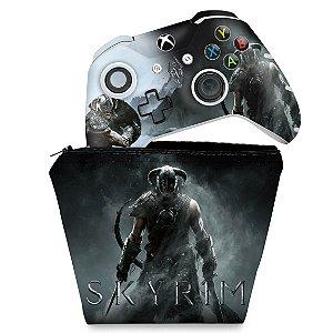 KIT Capa Case e Skin Xbox One Slim X Controle - Skyrim