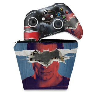 KIT Capa Case e Skin Xbox One Slim X Controle - Batman Vs Superman