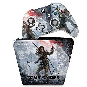 KIT Capa Case e Skin Xbox One Slim X Controle - Rise of the Tomb Raider