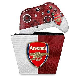 KIT Capa Case e Skin Xbox One Slim X Controle - Arsenal Football Club