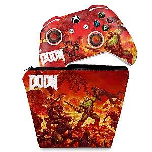 KIT Capa Case e Skin Xbox One Slim X Controle - Doom