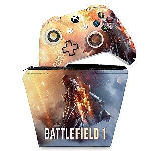 KIT Capa Case e Skin Xbox One Slim X Controle - Battlefield 1