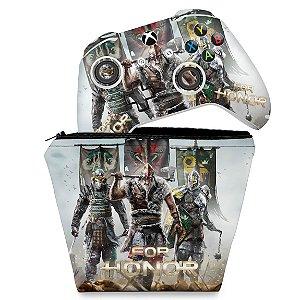 KIT Capa Case e Skin Xbox One Slim X Controle - For Honor