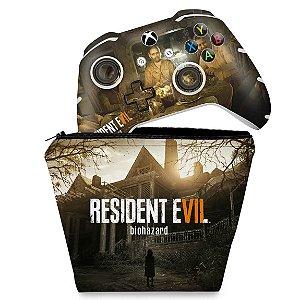 KIT Capa Case e Skin Xbox One Slim X Controle - Resident Evil 7: Biohazard