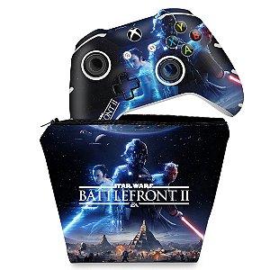 KIT Capa Case e Skin Xbox One Slim X Controle - Star Wars - Battlefront 2