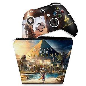 KIT Capa Case e Skin Xbox One Slim X Controle - Assassin's Creed: Origins