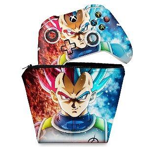 KIT Capa Case e Skin Xbox One Slim X Controle - Dragon Ball Super Vegeta SSJ GOD