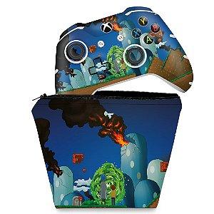 KIT Capa Case e Skin Xbox One Slim X Controle - Rick And Morty Mario