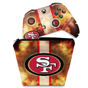 KIT Capa Case e Skin Xbox One Slim X Controle - San Francisco 49ers - NFL