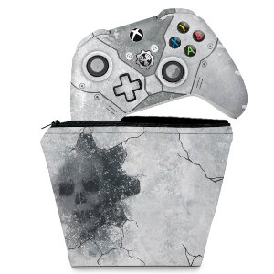 KIT Capa Case e Skin Xbox One Slim X Controle - Gears 5 Special Edition Bundle