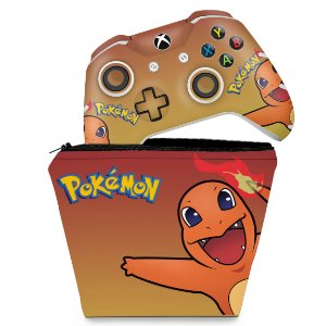 KIT Capa Case e Skin Xbox One Slim X Controle - Pokemon Charmander