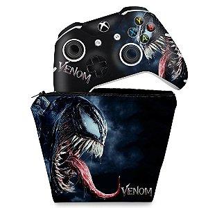 KIT Capa Case e Skin Xbox One Slim X Controle - Venom