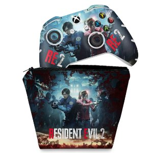 KIT Capa Case e Skin Xbox One Slim X Controle - Resident Evil 2 Remake