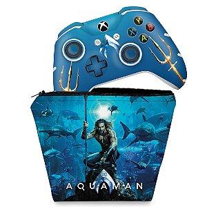 KIT Capa Case e Skin Xbox One Slim X Controle - Aquaman