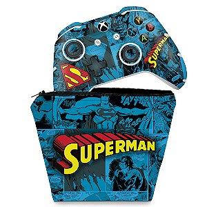 KIT Capa Case e Skin Xbox One Slim X Controle - Super Homem Superman Comics