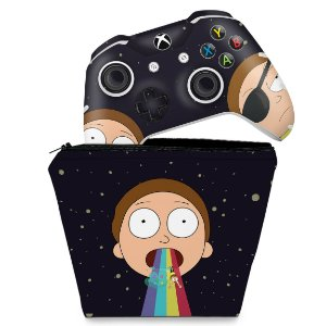 KIT Capa Case e Skin Xbox One Slim X Controle - Morty Rick and Morty