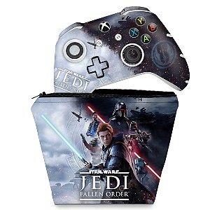 KIT Capa Case e Skin Xbox One Slim X Controle - Star Wars Jedi Fallen Order