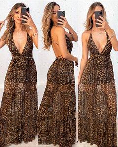 Vestido Animal Print Tule