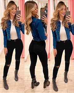 Calça Jeans Lycra preto