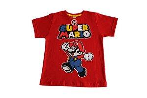 camiseta personagens vermelha super mario