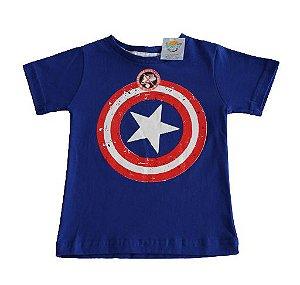 Camiseta personagens azul Capitão América tamanho 2